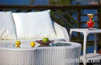 White Outdoor Wicker Sofa Set
