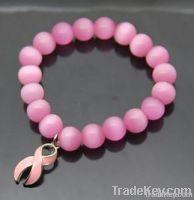 Pink ribbon beads bracelet(D01521)