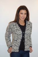Navy blue and ivory jacket with silver buttons