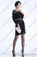 10517 Discounted Sheer Black full sleeve Lace Dress