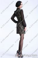 10513 Elegant Full Sleeve Lacey Black/nude Dress