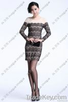 Fast Shipping!! 10512 Bi-color Full Sleeve Lacey Dress