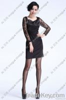 Fast Shipping! 10511 Sheer Black Lacey Long Sleeve dress