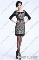 10509 Lovely Half Sleeve Lace Dress Black