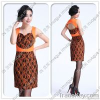 HOT SALE!!10506 Glamorous Lace Ribbon Orange Dress