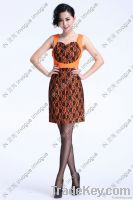 HOT SALE!!10506 Glamorous Lace Ribbon Orange Dress
