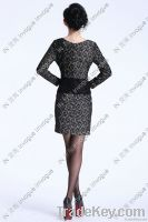 10505 Gorgeous Long sleeve V neck allover lace Dress
