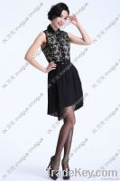 HOT!! 10503 Trendy Leaves Lace Ruffle Dress BLACK