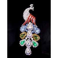 Multi Color Peacock Rhinestone Brooch