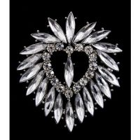 Clear Heart Rhinestone Brooch