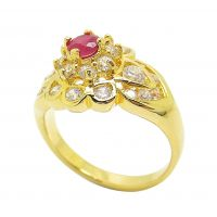Gold plated ring setting with synthetic ruby