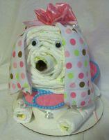 Baby Boy or Girl Gift Basket Shower Gift Dog Diaper Cake