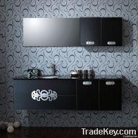 Black Tempered Glass Bathroom Cabinet (OP-W1182-170)