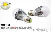 3W High Quality White LED Ball Steep Light, 3W led bulb Base Type: E27