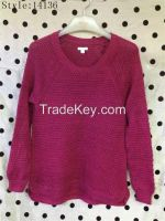 lady's round neck long sleeve pullover fashion garment stocklots