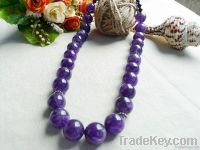 natural gemstone amethyst big beads necklace