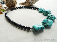 natural gemstone black agate and blue Turquoise necklace