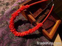 naural handwoven coral semiprecious necklace
