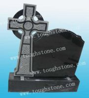 headstone with black granite celtic cross design