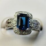 925 Silver Ring with Londopn Blue Topaz (Lmix-2008)