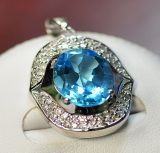 925 Silver with Blue Topaz Pendant (LBT-1003)