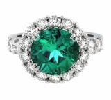 10K White Gold Ring With Diamond And Gemstone (LRG1255)