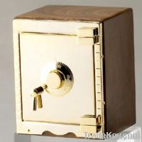 WOODEN & GOLD-BRASS SAFE BANKER, GIFT BOX
