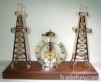 2 PIECES BRASS DERRICK WITH GOLD