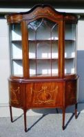 Antique Inlaid Mahogany China Cabinet with French Marquetry