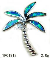 opal Palm tree pendant