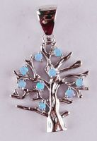 silver opal The tree of life pendant