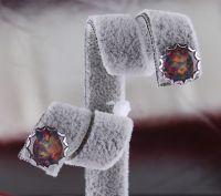 silver opal Stud  earing E16
