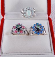 925 sterling silver opal ring R49