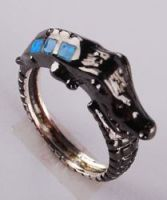 925 sterling silver opal jewelry crocodile ring R101