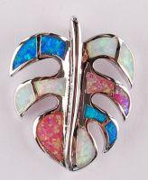 925 sterling silver opal Leaf pendants P38