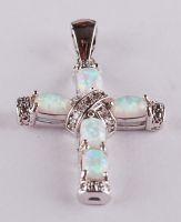 opal cross pendant P77