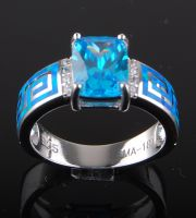 Greek key opal ring