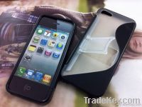 2012 Hot high quality TPU&PC CASE WITH STAND  FOR IPHONE5