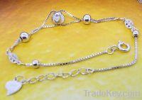 925 Sterling Silver Ball Charm Bracelet