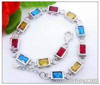 925 Sterling Silver Color Gemstone Charm Bracelet