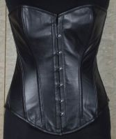 Full Breast Steel Boned Leather Corset