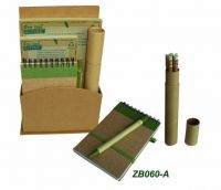 eco-friendly stationary, recycled paper notebook and pen set