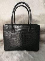 Genuine Belly Crocodile Leather Tote Bag Handbag. Black Crocodile Skin Shoulder Bag. Made in Thailand