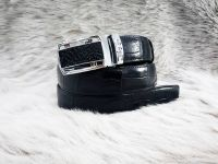 Genuine Belly Crocodile Leather Belt. Black Crocodile Belt. Siamensis Crocodile. Automatic Buckle. Made in Thailand