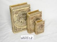 wooden book box with canvas covered