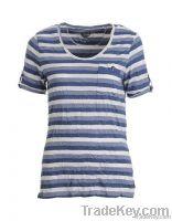 Wide neck stripes T-shirt