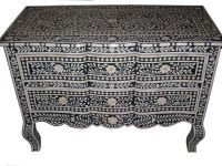 Bone inlay curved chest of drawer