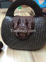 Native Handmade Water Snake Crocodile Porosus Handbag