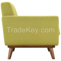 Modern Leather Single Armchair With Wood Leg