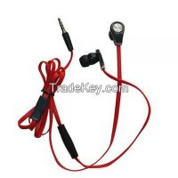 Mobile phone earphone, with mic, flat PVC wire, plastic mic and in-ear ear, high quality, good price